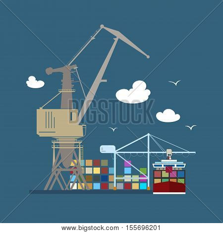 Cargo Seaportб Unloading Containers from a Cargo Ship in a Docks with Cargo Craneб Container Ship at the Dock at Seaб International Freight Transportationб Vector Illustration