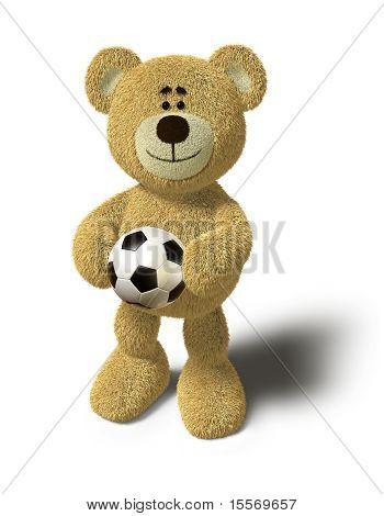 Oso de peluche - sostiene un balón de fútbol