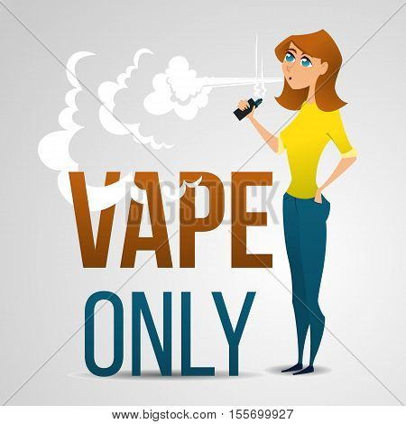 Young woman smokes an electronic cigarette and produces a cloud of smoke. Advertising illustration
