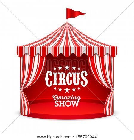 Amazing Circus Show poster background. Circus tent vector illustration.