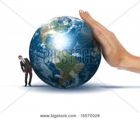 Businessman with a globe
