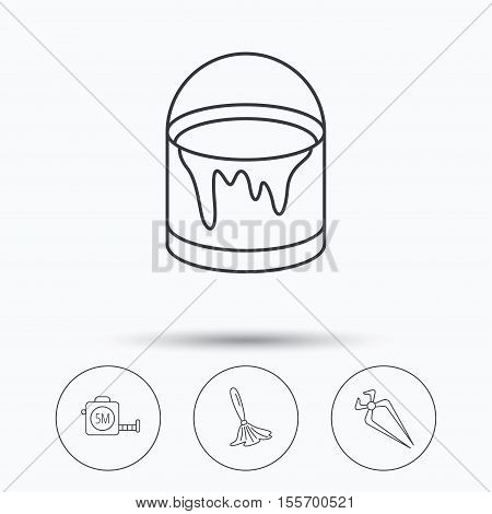 Tape measure, bucket of paint and paint brush icons. Nippers linear sign. Linear icons in circle buttons. Flat web symbols. Vector