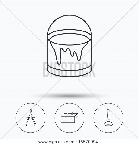 Measurement, plunger and repair toolbox icons. Bucket of paint linear sign. Linear icons in circle buttons. Flat web symbols. Vector
