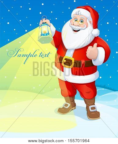 Christmas. Santa Claus with a flashlight. Vector illustration. Poster.