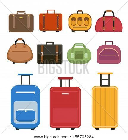 Travel bags icon set flat style. Luggage travel bags set isolated on a white background. Set suitcases. Collection different bags suitcases luggage. Vector illustration