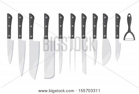 Knife Set icon flat style. Set of different knifes icons isolated on white background. Set blade icon design element. Vector illustration