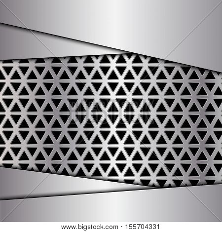 Silver metal background, Metal grid, Geometric pattern with triangles, Vector illustration
