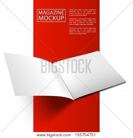 Blank magazine mockup template. Opened magazine. Red Line series. Realistic vector EPS10 illustration.