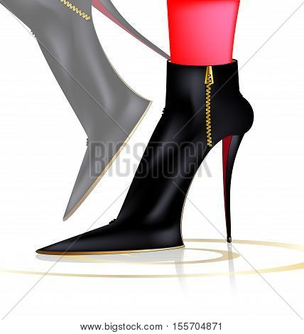 white background and abstract feet in black ladys boots
