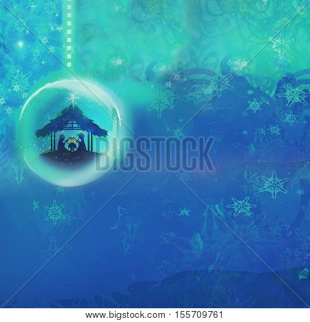 Christian Christmas nativity scene of baby Jesus in transparent ball hanging on abstract background