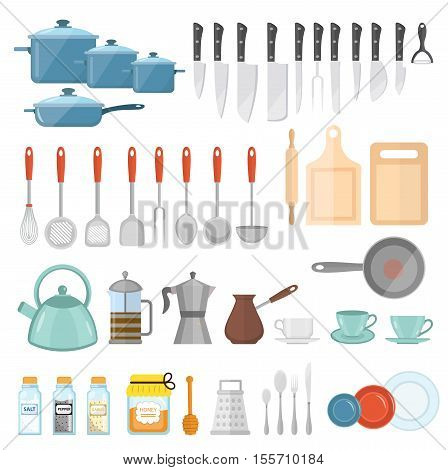 Cookware set of icons flat style. Kitchen utensils set of high isolated on white background. Cooking tools and kitchenware equipment. Kitchen tools utensils cutlery. Vector illustration;
