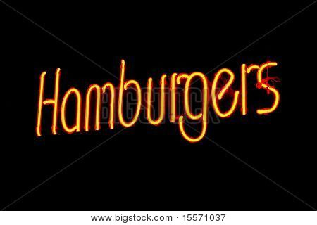 Yellow And Red Flourescent Hamburger Sign