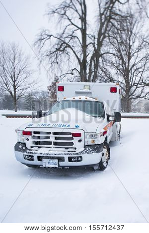 Washington D.C. USA - January 23 2016: An ambulance is a vehicle for transportation of sick or injured people.