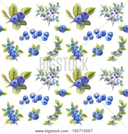 bilberry pattern blueberries texture, watercolor background, berry