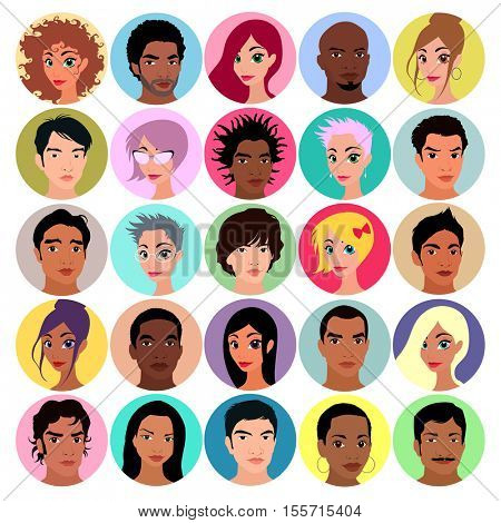 Collection of female and male avatars. Flat colors, vector illustration