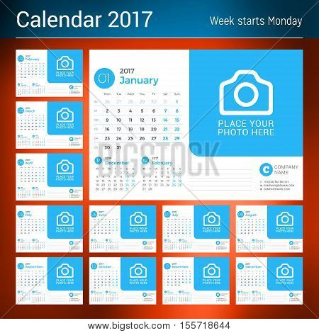 Desk Calendar For 2017 Year. Vector Print Template With Place For Photo. Blue Color Theme. Set Of 12