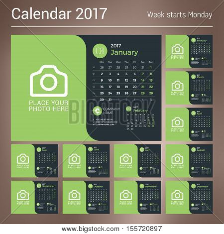 Calendar For 2017 Year. Vector Print Template With Place For Photo On Dark Background. Set Of 12 Mon