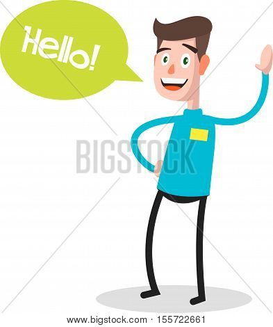 Successful young businessman character saying hello with speech bubble, front view. Business, job, professional, consultant concept. vector illustration