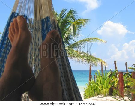 Hammock With A Tropical White Beach And Blue Sea, Tulum, Mexico