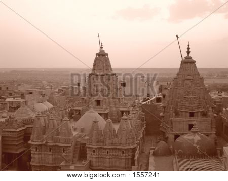 Khmer Temples In Sepia Effect, Jaisalmer, India