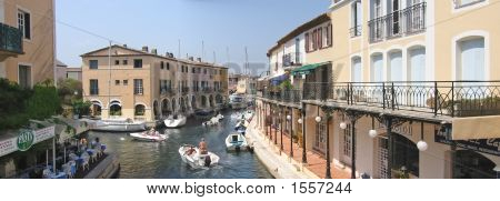 Little Venice Near Frejus With Boats And Sea Canals, Port Grimmaud, Azur Coast, South Of  France, Pa