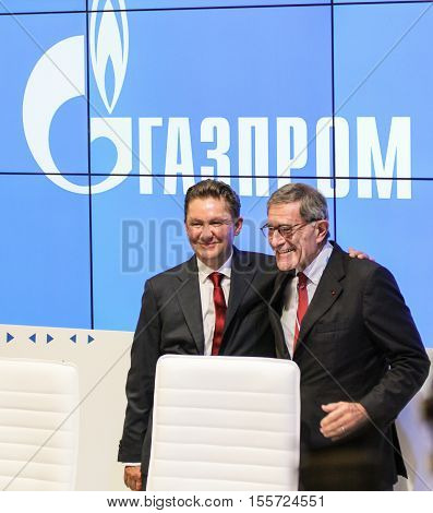 St. Petersburg, Russia - 4 October, Gazprom Chairman of the Board at Gas Forum, 4 October, 2016. Petersburg Gas Forum which takes place in Expoforum.