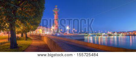 Night panoramic view of alley on Spit of Vasilyevsky Island Rostral Column and Birzhevoy Bridge Saint Petersburg Russia