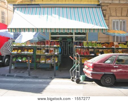 Stand Market Of A Grocery With Fruits, Marseille, South Of France