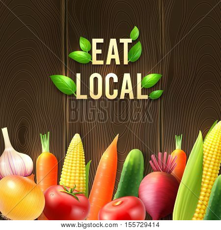 Eco agricultural vegetables poster with onion garlic cucumber tomato beet corn carrot on wooden background vector illustration
