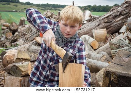 Young Woodcutter Splitting Piece Of Firewood With An Axe
