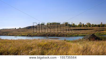 River Msta bright sunny day in autumn.