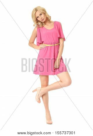 Full Length Of Flirtatious Woman With Cocktail Dress Isolated On White