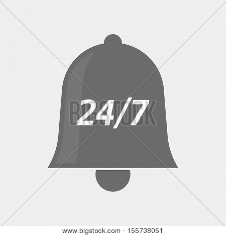 Isolated Bell Icon With    The Text 24/7