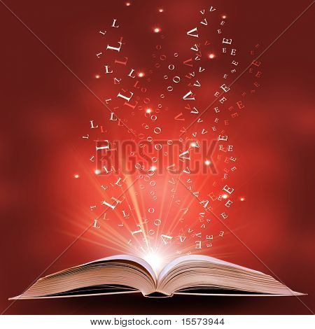 magic book on a  background with the lines and lights