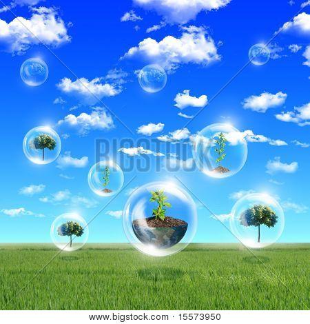 Resumen de burbujas contra el cielo azul y las nubes. Símbolo de protección del medio ambiente. Collage.