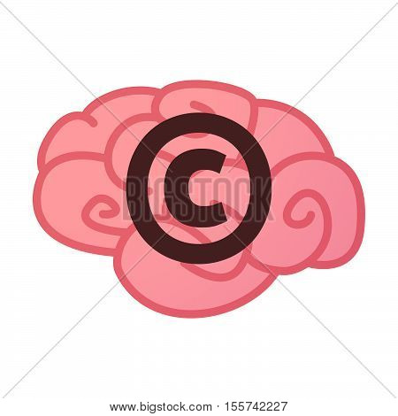 Isolated Brain Icon With    The  Copyright Sign