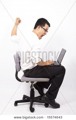 business man angry for computer crash white background