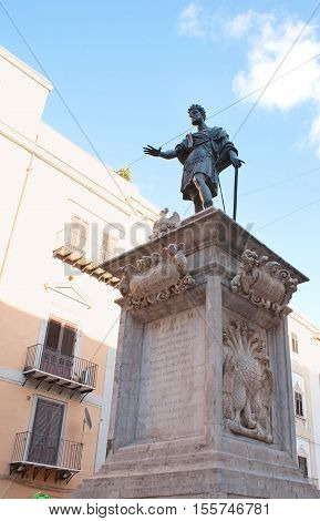 PALERMO ITALY - OCTOBER 2 2012: The monument to Charles V the Spanish King of Sicily located in Bologni Square on October 2 in Palermo.