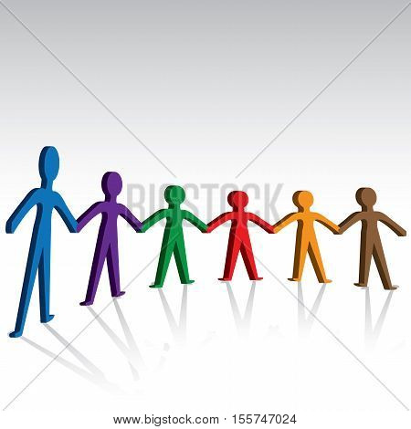 Brotherhood and unity-colorful persons holding hands together