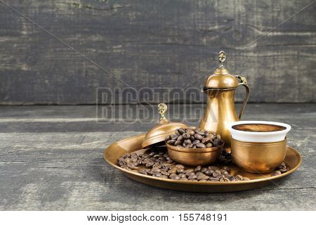 Turkish Coffee With Traditional Copper Serving Set
