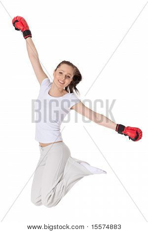Young Woman In Fighting Gloves