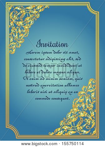 Gold ornamental card with antique luxury blue and vintage frame victorian banner baroque style booklet fashion pattern template for design.
