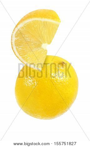 hanging falling hovering flying piece of lemon fruits isolated on white background with clipping path