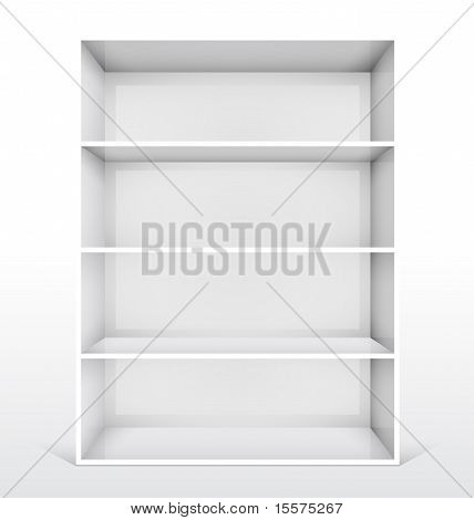 Isolated Empty White Bookshelf