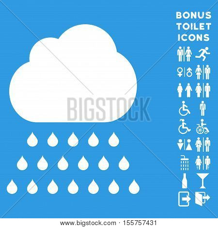 Rain Cloud icon and bonus gentleman and lady restroom symbols. Vector illustration style is flat iconic symbols, white color, blue background.