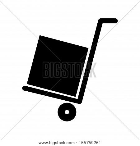 silhouette of handcart with box icon over white background. delivery and shipping design. vector illustration