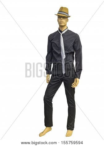 Full length male mannequin dressed in black shirt and trousers isolated on white background. No brand names or copyright objects.