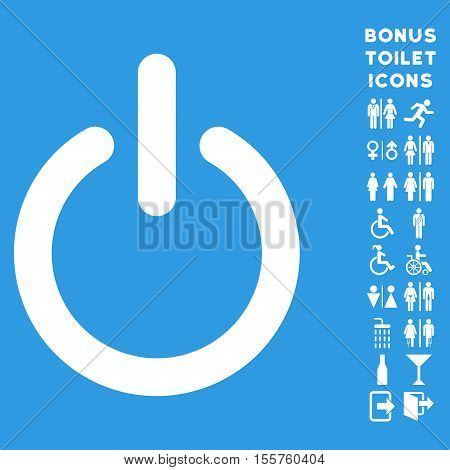 Turn Off icon and bonus gentleman and female WC symbols. Vector illustration style is flat iconic symbols, white color, blue background.