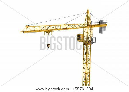 3D rendering of a yellow construction crane isolated on a white background. Construction. Tower crane. Modern form of balance crane. Type of machine equipped with a hoist rope, wire ropes or chains, and sheaves.