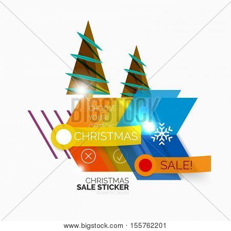 Shiny holiday New Year and Christmas sale banners, vector promotional and info templates